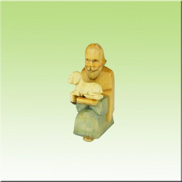 geschnitzter Hirte kniend mit Lamm, 7 und 9cm, farbig lasiert