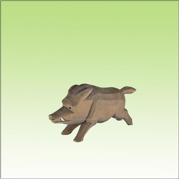 geschnitztes Wildschwein, flüchtend, farbig lasiert