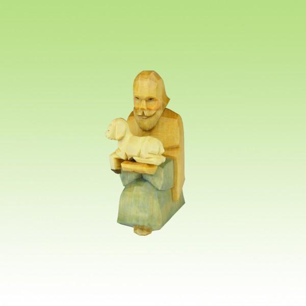 geschnitzter Hirte kniend, mit Lamm
