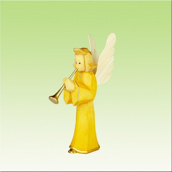 geschnitzter Engel, Bläser, 9cm, farbig lasiert