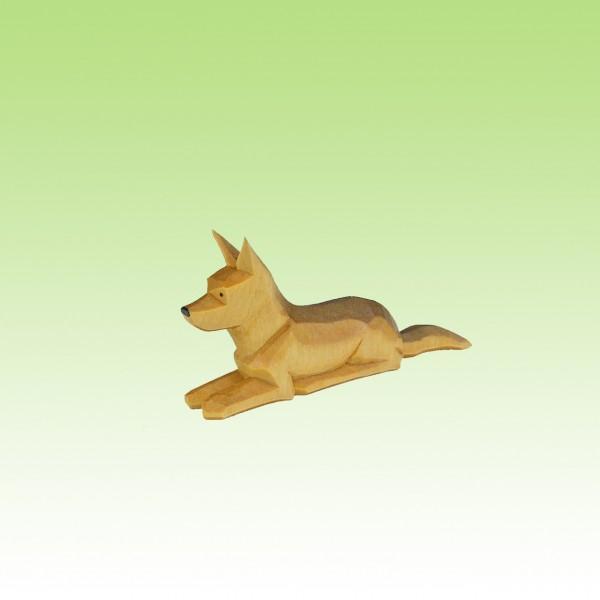 geschnitzter Schäferhund, liegend