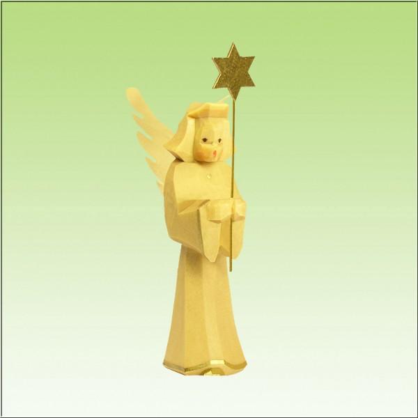 geschnitzter Engel, Sternträger, 7cm, natur lasiert
