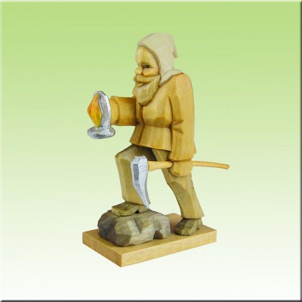 geschnitzter Bergmann m. Licht, Fuß auf Stein, 7cm, farbig lasiert