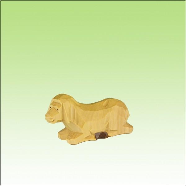 geschnitztes Schaf, liegend, 12 cm, farbig lasiert