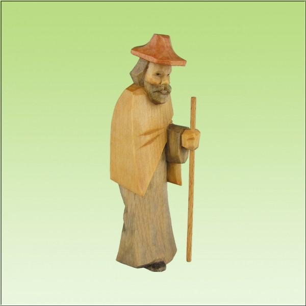geschnitzter Hirte stehend, 7cm und 9cm, farbig lasiert