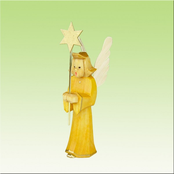 geschnitzter Engel, Sternträger, 9cm, farbig lasiert