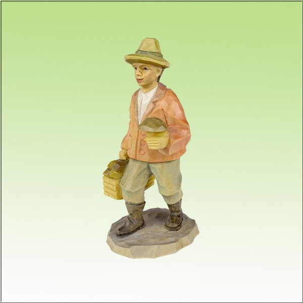 geschnitzter Pilzmann 12cm, farbig lasiert