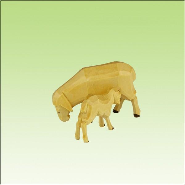 geschnitztes Schaf mit Lamm, farbig, 2,7cm bis 3,5cm