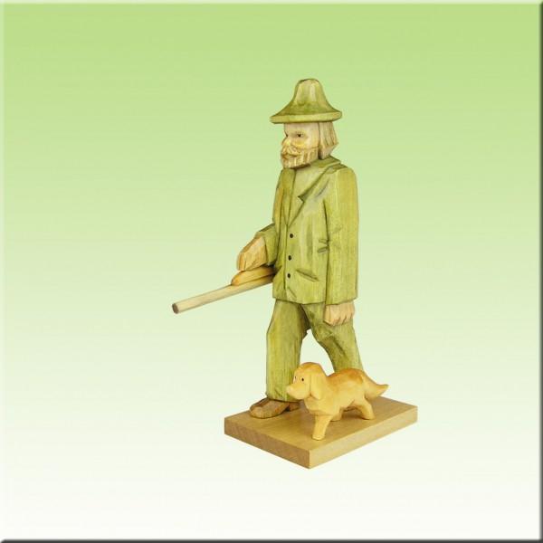 geschnitzter Jäger mit Dackel, 9cm u. 12cm, farbig lasiert
