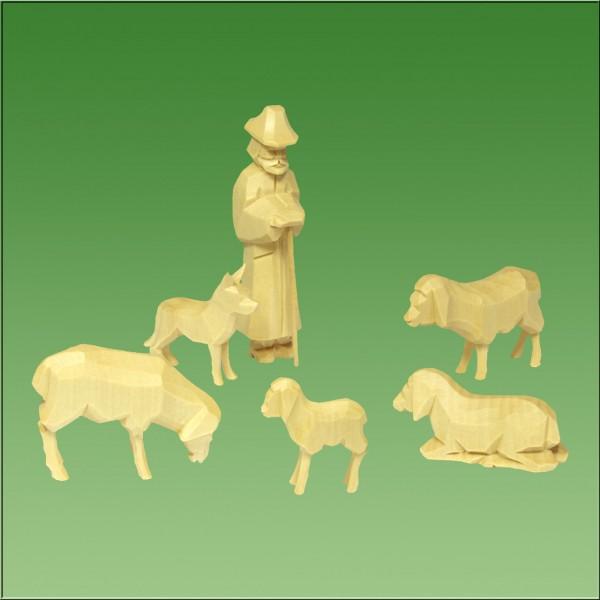 geschnitzter Schäfer mit Schafen und Hund, natur lasiert