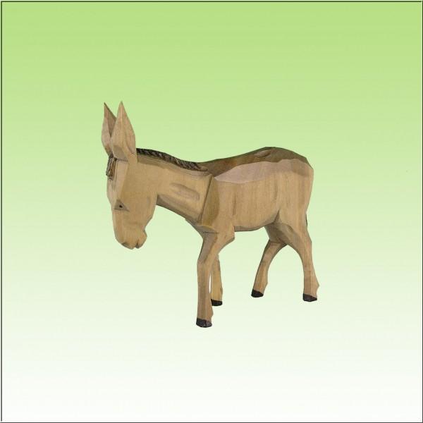 geschnitzter Esel, 12 cm, farbig lasiert