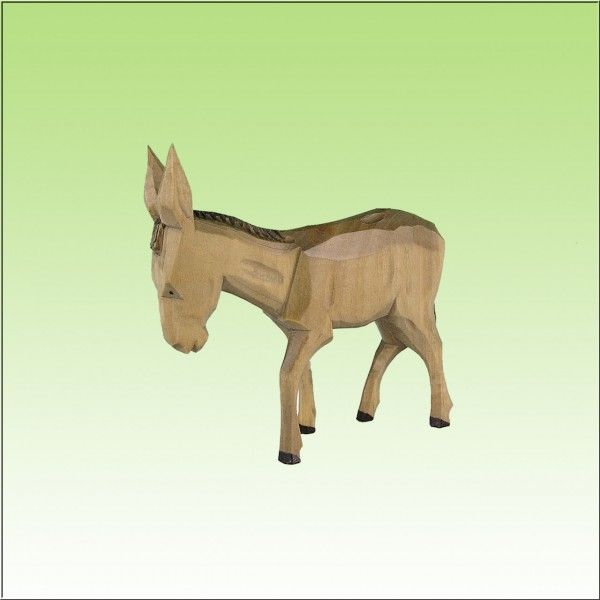 geschnitzter Esel, 9cm, farbig