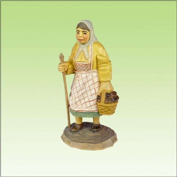 geschnitzter Pilzfrau, 12cm, farbig lasiert