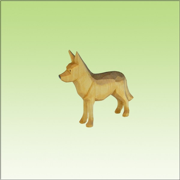 geschnitzter Schäferhund, stehend, 7cm, 9cm und 12cm, farbig lasiert
