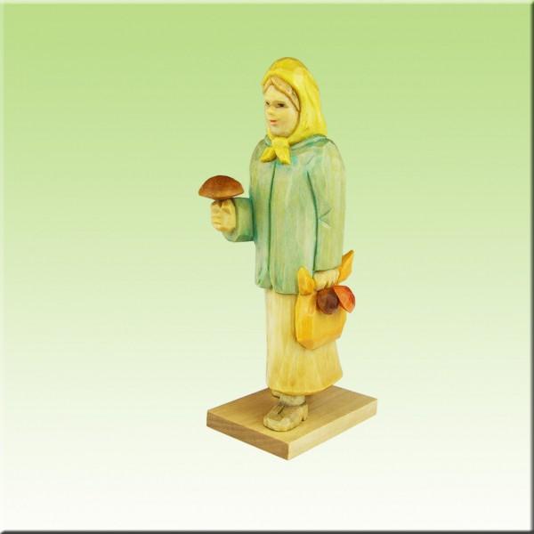 geschnitzte Pilzfrau, 12cm farbig