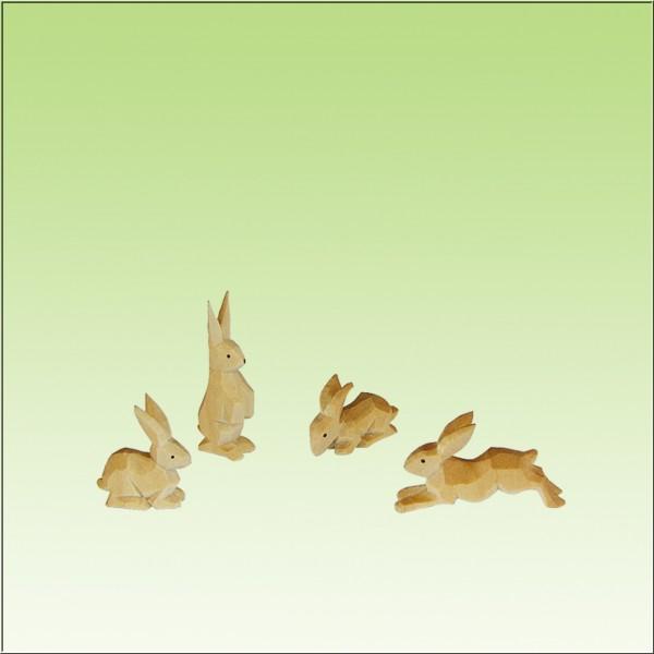 geschnitzte Hasengruppe, 4tlg. farbig lasiert