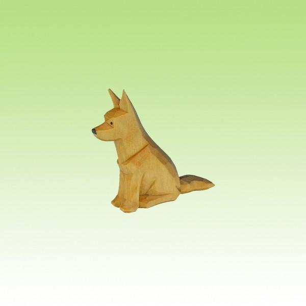 geschnitzter Schäferhund, sitzend