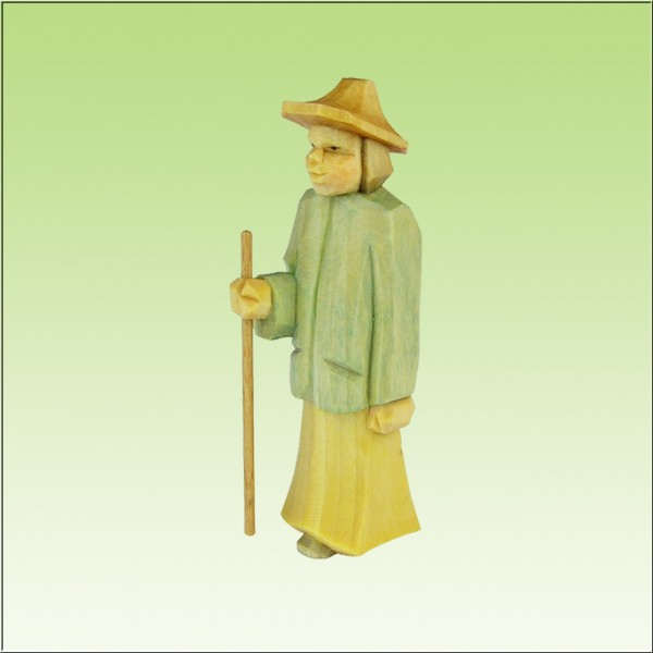 geschnitzter Hirte stehend, jung, farbig lasiert
