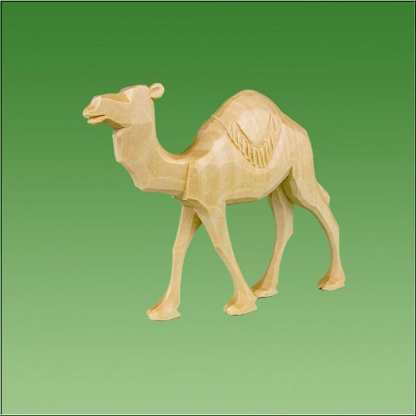geschnitztes Kamel laufend, runde Decke, 7cm und 9cm, natur lasiert