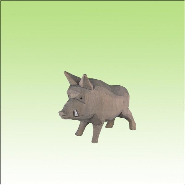 geschnitztes Wildschwein, stehend, farbig lasiert