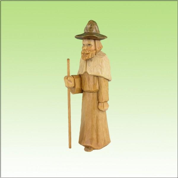 geschnitzter Hirte stehend, mit Fellumhang, 12 cm, farbig lasiert