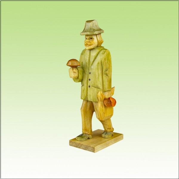 geschnitzter Pilzmann, 12cm farbig lasiert