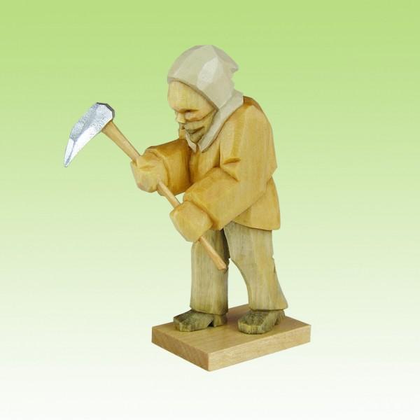geschnitzter Bergmann, hackend, 7cm, farbig