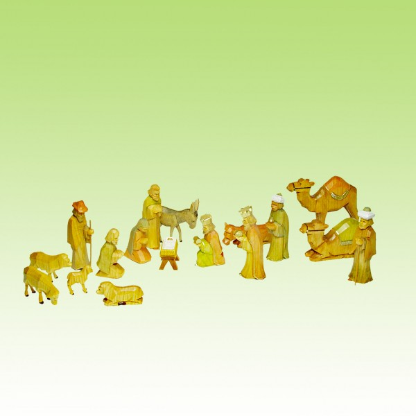 geschnitzte Krippenfiguren, Set 17 Teile