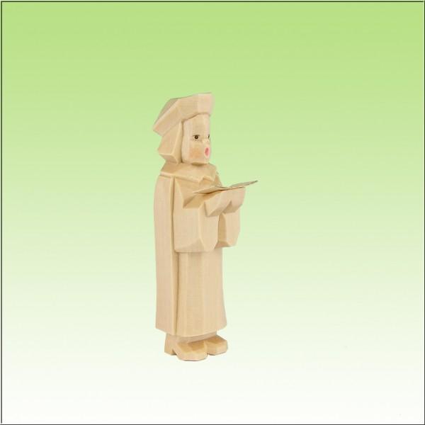 geschnitzter Kurrendesänger, 7cm, natur