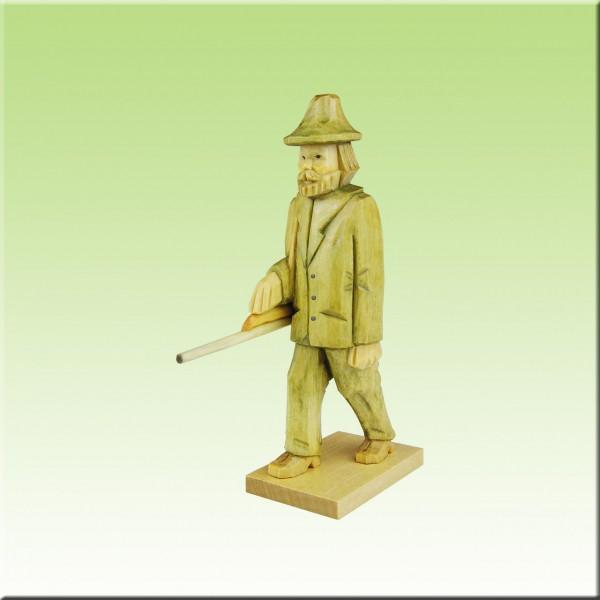 geschnitzter Jäger, 9cm u. 12cm, farbig lasiert