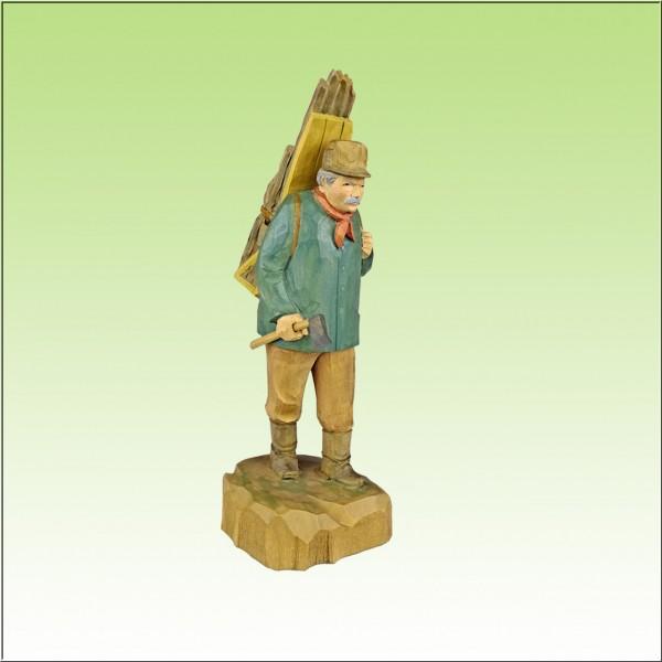 geschnitzter Holzfäller, 21cm, farbig