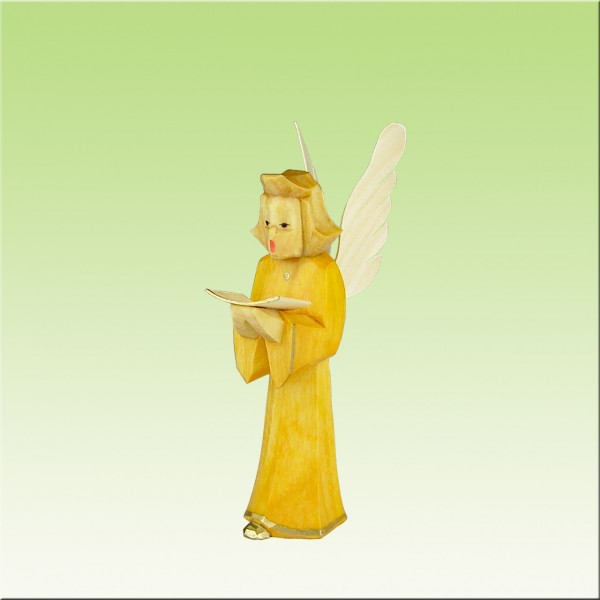 geschnitzter Engel, Sänger, 9 cm, farbig lasiert