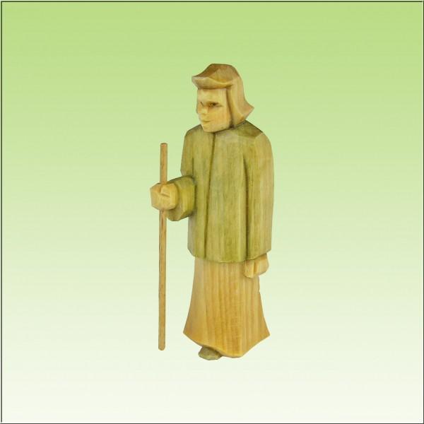 geschnitzter Hirte stehend, klein, 7cm u. 9cm, farbig lasiert