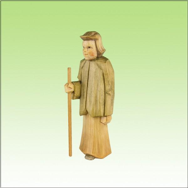 geschnitzter Hirte stehend, jung, 12 cm, farbig lasiert