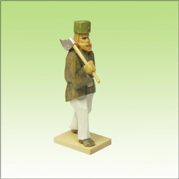 geschnitzter Bergmann, Hauer, 7cm, farbig