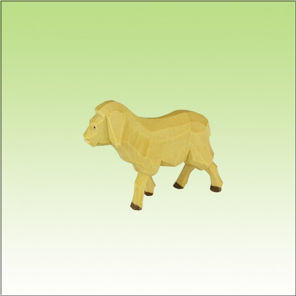 geschnitztes Schaf, laufend, 9cm, farbig lasiert