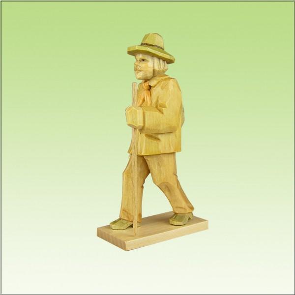 geschnitzter Wanderer 9cm u. 12cm, farbig lasiert