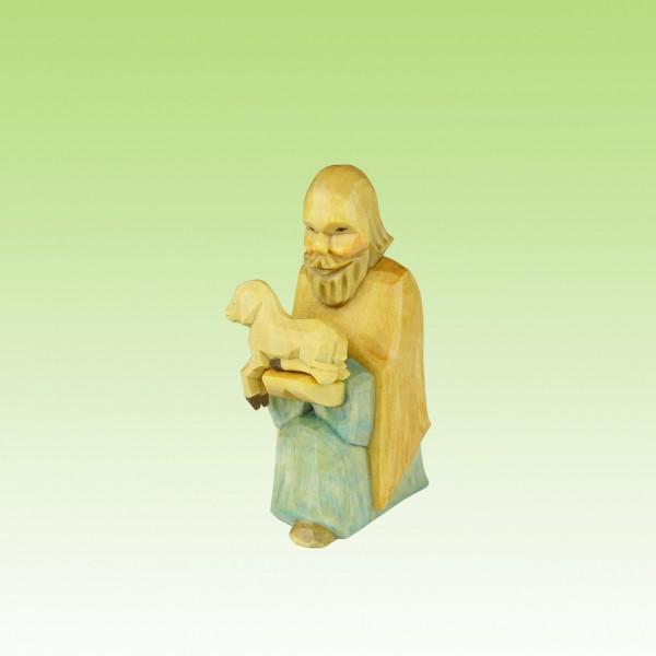 geschnitzter Hirte, mit Lamm, 8,5cm, farbig