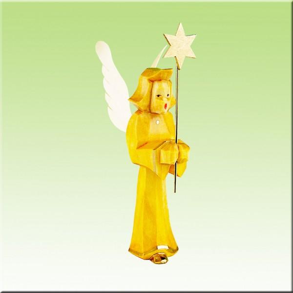 geschnitzter Engel, Sternträger, 7cm, farbig lasiert