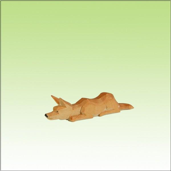 geschnitzter Fuchs, lauernd, farbig lasiert