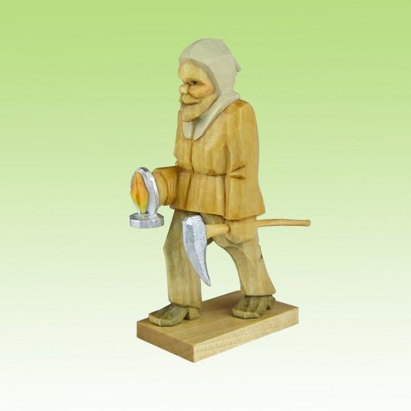 geschnitzter Bergmann m. Licht, 7-12cm, farbig