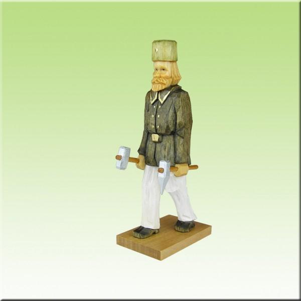geschnitzter Bergmann, mit Schlägel u. Eisen, 12 cm, farbig