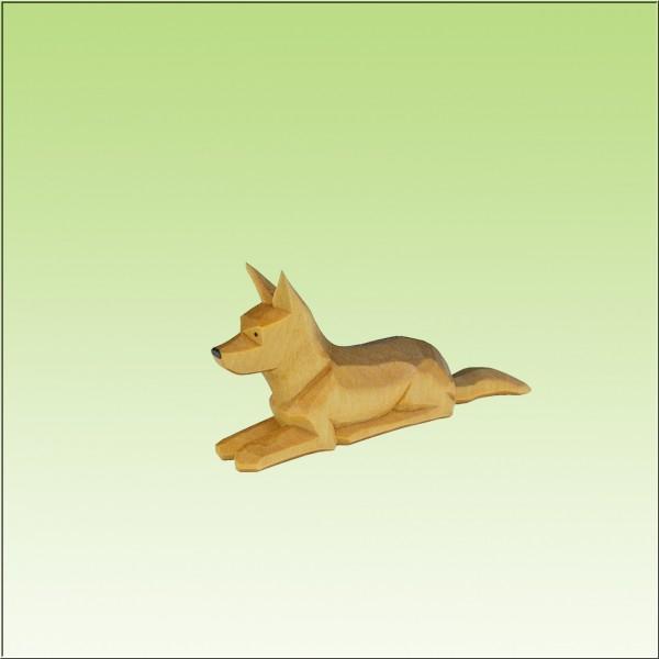 geschnitzter Schäferhund liegend, 7cm, 9cm u.12cm, farbig lasiert