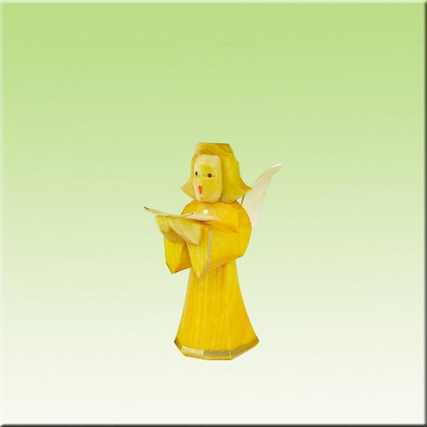 geschnitzter Engel, Sänger, 5cm, farbig lasiert