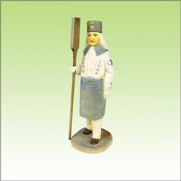 geschnitzter Blaufarbenwerker, 12cm, farbig lasiert