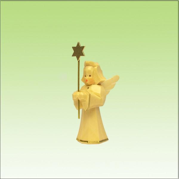 geschnitzter Engel, Sternträger, 5cm, natur lasiert