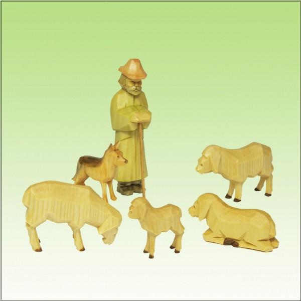 geschnitzter Schäfer mit Schafen u. Hund, 7-9cm, farbig