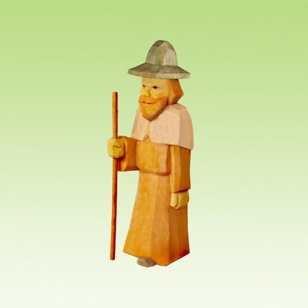 geschnitzter Hirte, mit Fellumhang