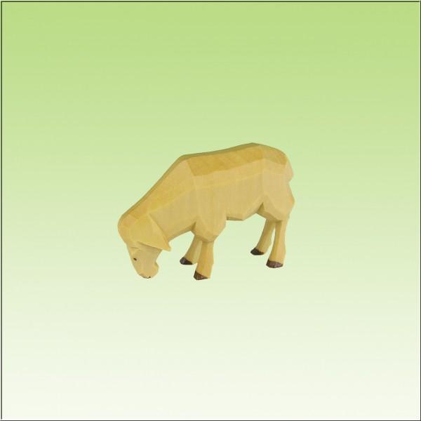 geschnitztes Schaf fressend, 7cm und 9cm, farbig lasiert