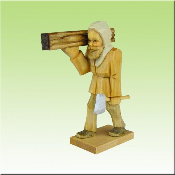 geschnitzter Bergmann, Bergzimmerm. laufend, 7cm bis 12cm, farbig lasiert